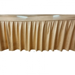 15 FT - Table Cover Frill - Made Of Crush Cloth - Golden Color