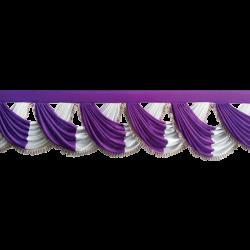 24 FT - Designer Zalar - Scallop Zalar - Chain Scallop Zalar - Kantha - Jhalar - Made Of Lycra - Purple & White Colour