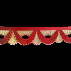 18 FT - Designer Jhalar - Scallop Jhalar - Kantha - Jhalar - Made Of Lycra With Tipki - Red & Chandan Color