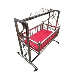 Baby Cradle - Palna - Made of Stainless Steel - Red Color - Weight - 20 Kg