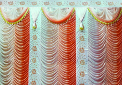 12 Ft X 15 Ft - Designer Curtain - Parda - Stage Parda - Wedding Curtain - Mandap Parda - Background Curtain - Side Curtain - Made Of Bright Lycra - Multi Color - Shaded Peach + White - Festoon