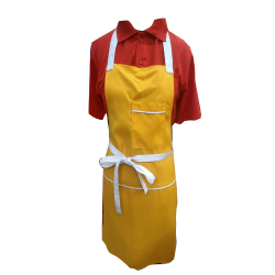 Cotton Kitchen Apron With Front Pocket Yellow Color