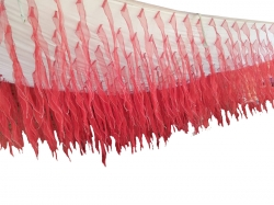 15 FT X 30 FT - Ceiling Gallery With Organza Leher Ribbon Cloth - Red Color