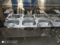 Six Taps - Wash Basin - Hand Wash Basin - Tent Wash Basin - Hand Wash Sink - Made Of High Quality Stainless Steel