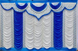 12 Ft X 15 Ft - Designer Curtain - Parda - Stage Parda - Wedding Curtain - Mandap Parda - Background Curtain - Side Curtain - Made Of Bright Lycra - Multi Color - White + Firozi Blue - Festoon