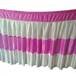 30 FT-Table Cover Frill - Made Of Brite Lycra - 24 Gauge - Dark Pink & White Color