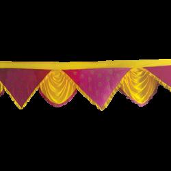 24  FT - Designer Zalar - Scallop Zalar - Kantha - Jhalar - Made Of Lycra - Yellow & Maharani Pink Print Color