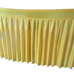 Table Cover Frill - Made of Brite Lycra - 24 Gauge - Golden Color (Size Available 15 FT X 20 FT X 30 FT )