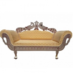 Sankheda Wooden Sofa - Wedding Reception Sofa - Regular Couches - White Creme Color.