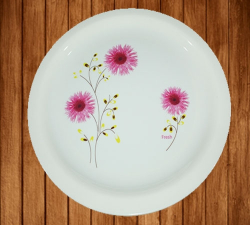 12 Inch - Bonchina Dinner Plates - Made Of Food-Grade Virgin Plastic Material - Round Shape - White Printed Plate