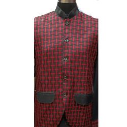 Waiter - Bearer - Bartender Coat Or Vest - Kitchen Uniform Or Apparel For Men - Full-Neckline - Full Sleeve - Made Of Premium Quality Polyester & Cotton - Red Color (Available Size 38 , 40 , 42 )