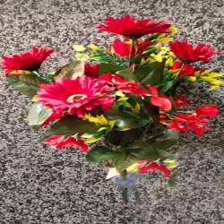 17 Inch - Flower Bunch - Artificial Bunch - Flower Decoration - 7 Stick - Multi Color
