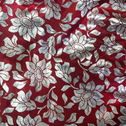 Foil Work Print on Brite Lycra - 54 Inch  Panna  - Event Cloth -  Brown & Silver Color