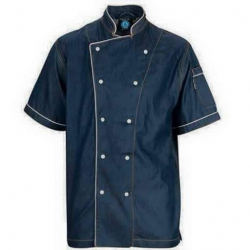 Kitchen Uniform - Chef Coat - Chef Vest - Unisex Chef Uniform - Kitchen Apparel - Double Breasted - Mandarin Style Collar - Half Sleeves - Made Of Premium Quality Cotton - Blue Color (Available Size 38 , 40 , 42 , 44 , 46 , 48)