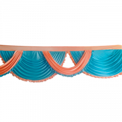 Designer Zalar - Scallop Zalar - Kantha - Jhalar - Made Of Lycra With Tipki - Peach & Firozi Blue Color (Available size in 10 FT,15 FT,18 FT,30 FT )