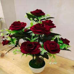 18 Inch - Flower Bunch - Artificial Bunch - Flower Decoration - Dark Brown Color