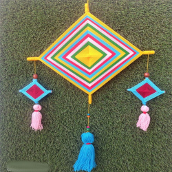 15 Inch X 25 Inch - Wall Hanging Kite - Wool Tasal Kite Wall Hanging - Multi color