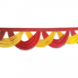 Designer Jhalar - Scallop Jhalar - Kanth - Jhalar - Made Of Lycra With Tipki - Red & Yellow Color (Available size in 10 FT,15 FT,18 FT,30 FT )
