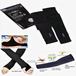 Krizler Cotton - Nylon Arm Sleeve For Men & Women - Free Size - Black Color