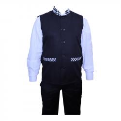 Waiter - Bearer - Bartender Coat Or Vest - Kitchen Uniform Or Apparel For Men - Full-Neckline - Sleeve-less - Made Of Premium Quality Polyester & Cotton - Black & White Color (Available Size 38 , 40 , 42 , 44 , 46 , 48)