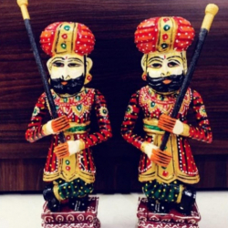 12 Inch -  Wooden Hand Painted Darban Pair - Muti Color