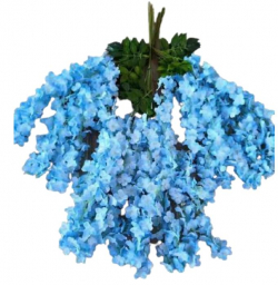 47 Inch X 35 Inch - Fabric Artificial Flower - Latkan - Flower Decoration - Light Blue Color