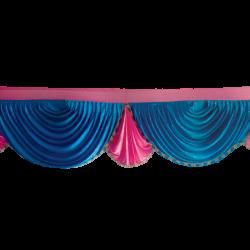 Designer Zalar - Scallop Zalar - Kantha - Jhalar - Made Of Lycra With Tipki - Firozi Blue & Maharani Pink Color (Available size in 10 FT,15 FT,18 FT,30 FT )