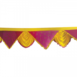 Designer Zalar - Scallop Zalar - Kantha - Jhalar - Made Of Lycra With Tipki - Yellow & Maharani Pink Print Color (Available size in 10 FT,15 FT,18 FT,30 FT )
