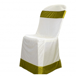 Chandni Cloth  Chair  Cover - Without Handle - For Plastic Chair - White & Parrot Green Color .