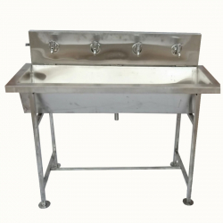 3.9 FT - Hand Wash Basin - Two Taps Fold-able Hand Wash Sink - Made of Stainless Steel (Available Four Taps)