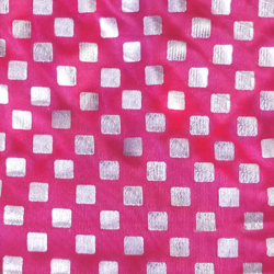 Foil Work Print on Brite Lycra - 54 Inch  Panna  - Event Cloth -  Red &  Silver Color