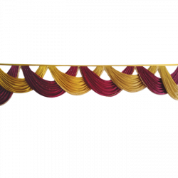 Designer Zalar - Scallop Zalar - Kantha - Jhalar - Made Of Lycra With Tipki - Maroon & Sona Gold Color (Available size in 10 FT,15 FT,18 FT,30 FT )