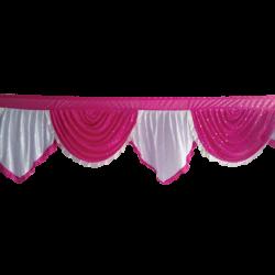Designer Zalar - Scallop Zalar - Kantha - Jhalar - Made Of Lycra With Tipki - Maharani Pink & White Color (Available size in 10 FT,15 FT,18 FT,30 FT )