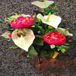 17 Inch - Flower Bunch - Artificial Bunch - Flower Decoration - Multi Color