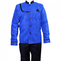 Kitchen Uniform - Chef Coat - Kitchen Apparel - Double Breasted - Mandarin Style Collar - Full Sleeves - Made Of Premium Quality Cotton - Blue Color (Available Size 38 , 40 , 42 , 44 , 46 , 48)