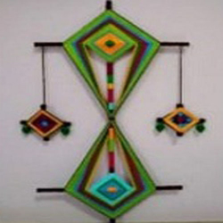 12 Inch x 25 Inch - Triangle Kite Wall Hanging - Multi Color