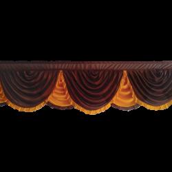 Designer Zalar - Scallop Zalar - Kantha - Jhalar - Made of Lycra - Brown & Orange Color - (Available size in 10 FT,15 FT,18 FT,30 FT )