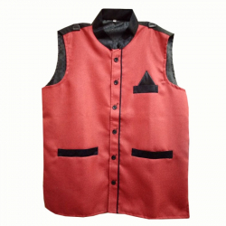 Waiter - Bearer - Bartender Coat Or Vest - Kitchen Uniform Or Apparel For Men - Full-Neckline - Sleeve-less - Made Of Premium Quality Polyester & Cotton - Red & Black Color (Available Size 38 , 40 , 42 , 44 , 46 , 48)