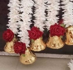 5 FT -  Artificial Paper Ladi Toran - Flower Ladi - White Color