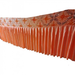 Table Cover Frill - Counter Jhalar - Made Of Brite Lycra - Orange Color ( Available Size 10 FT, 15 FT, 30 FT )