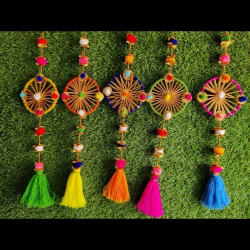 6 Inch - Pom Pom With Tussle Together - Hanging Latkan - Jhumar - Multi Color