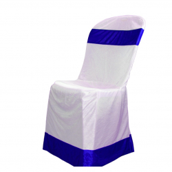 Chandni Cloth  Chair  Cover - Without Handle - For Plastic Chair - White & Royal Blue Color .