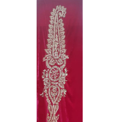 5 FT X 10 FT - Decoration Background Curtain - Entrance Decoration - Stage Decoration Cloth Made Of Velvet Fabric With Designing Of Moti Sitara Work - Red Color