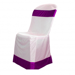 Chandni Cloth  Chair  Cover - Without Handle - For Plastic Chair - White & Maharani Pink Color .