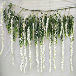 3.5 FT X 6.5 FT - Artificial Hanging - Flower Decoration - Green & White Color