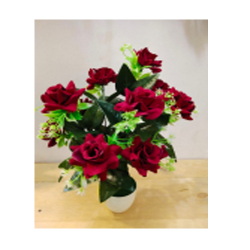 18 Inch - Flower Bunch - Artificial Bunch - Flower Decoration - Red Color