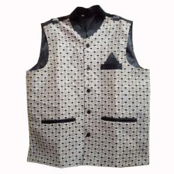 Waiter - Bearer - Bartender Coat Or Vest - Kitchen Uniform Or Apparel For Men - Full-Neckline - Sleeve-less - Made Of Premium Quality Polyester & Cotton - Grey & Black Color (Available Size 38 , 40 , 42 , 44 , 46 , 48)