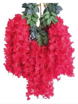 47 Inch X 35 Inch  - Fabric Artificial Flower - Latkan - Flower Decoration - Red Color