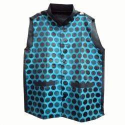 Waiter - Bearer - Bartender Coat Or Vest - Kitchen Uniform Or Apparel For Men - Full-Neckline - Sleeve-less - Made Of Premium Quality Polyester & Cotton - Blue & Black Color (Available Size 38 , 40 , 42 , 44 , 46 , 48)