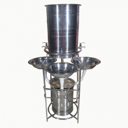 5.8 FT - Three Taps Wash Basin - Hand Wash Sink - Made of Stainless Steel ( Available In Dark Color )